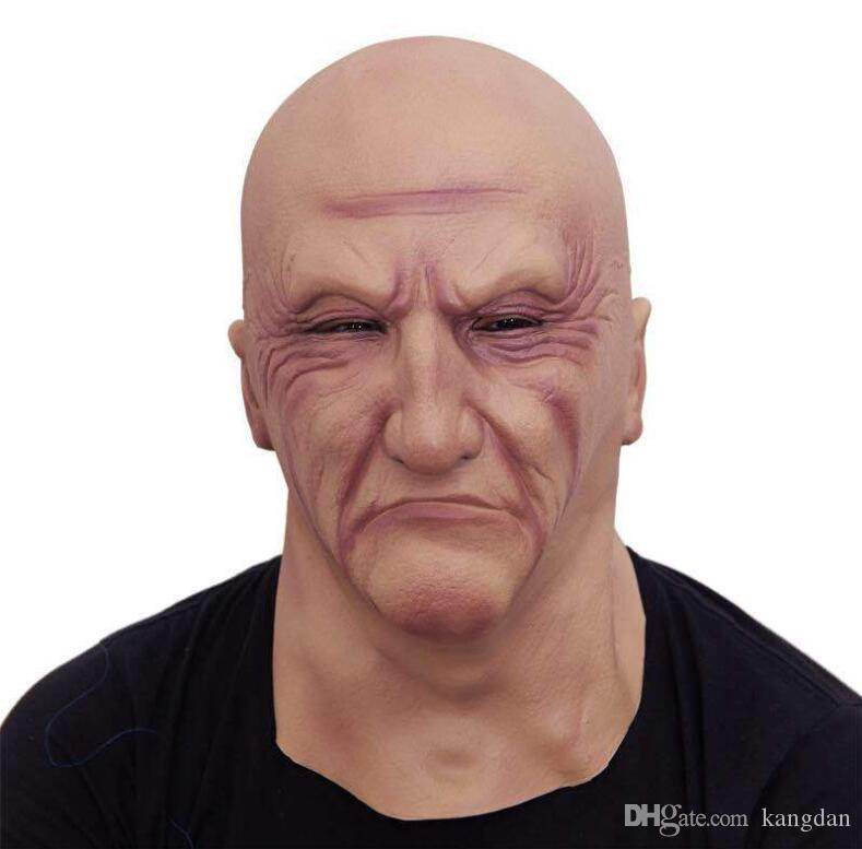 Realista Látex Máscara de Homem Velho Masculino Disfarce Halloween Fancy Dress Cabeça de Borracha Adulto Partido Máscaras Masquerade máscara Cosplay Adereços