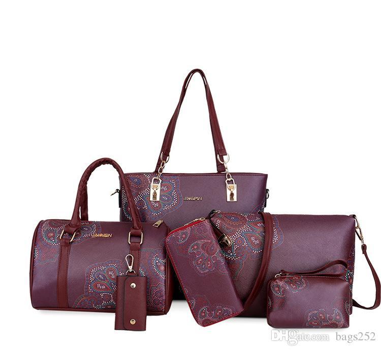 2020 Women PU Leather Handbags Women Printed Fashion Bags 6 Pieces Set Shoulder Crossbody Bags For Big Tote