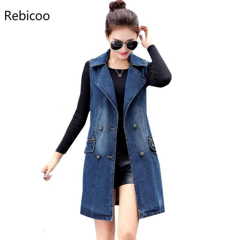 Otoño dril de algodón de las mujeres del chaleco de Corea del tamaño Plus de doble botonadura mangas de las señoras mezclilla largos abrigos chaleco de las mujeres elegantes