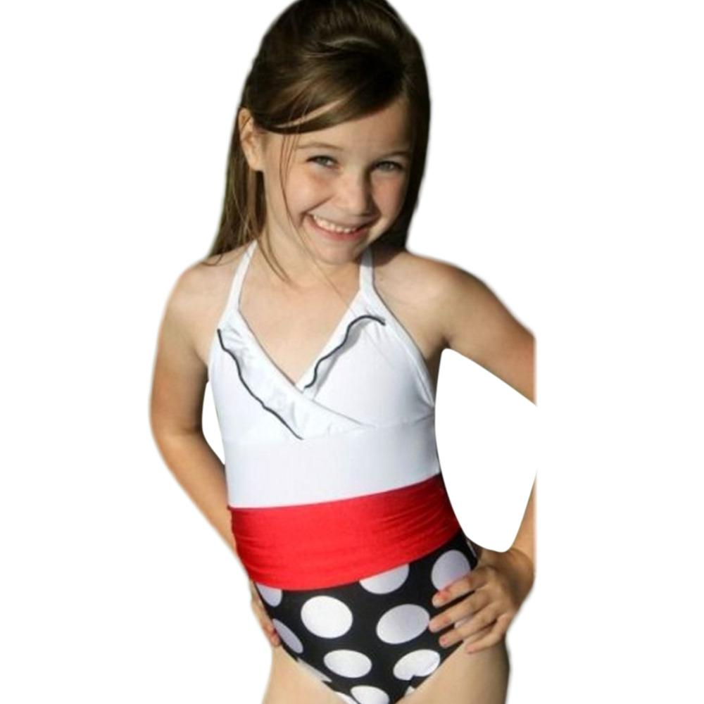 Brand New 2017 Summer Baby Girls Character One Pieces Swimwear Children Kids Cute Polka Dot Swimsuit Clothing Suit for Girls Z2