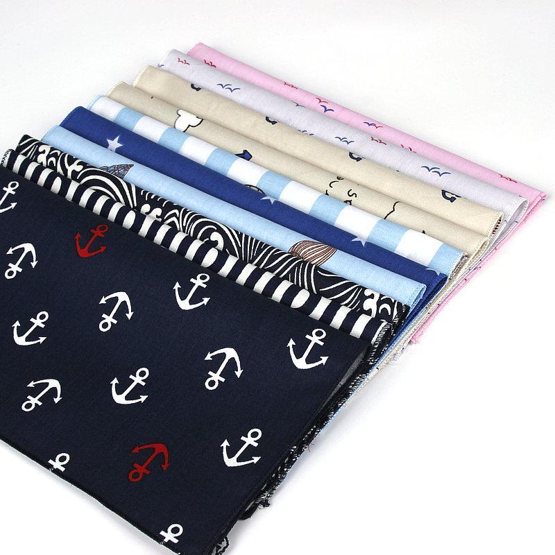 Brand New Мужская хлопок Handkerchief Navy Printed Платок Свадебные 25см * 25см платочки для мужчин Классический Anchor Карманный Полотенце