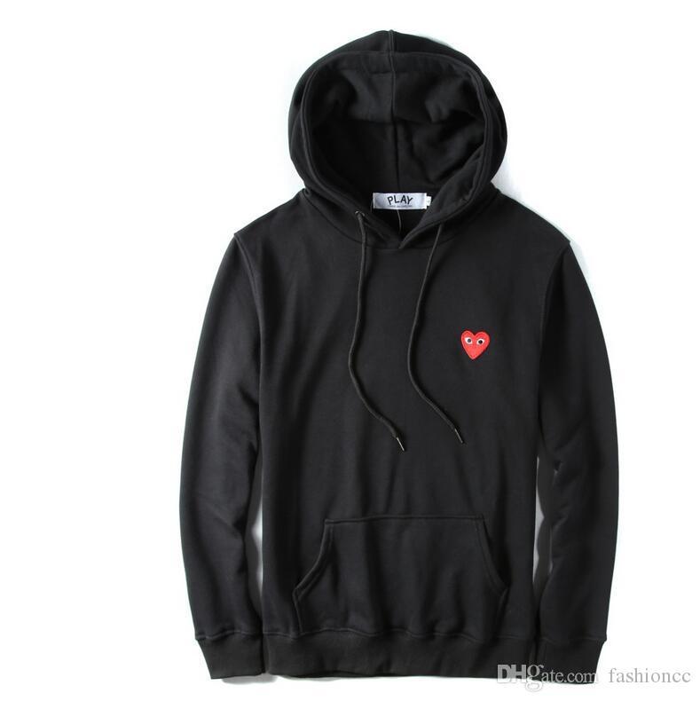 2019 가을 신상품 얇은 물방울 무늬 후드 심장 인쇄 코트 조깅 운동복 스웨터 블랙 화이트 티셔츠 후드