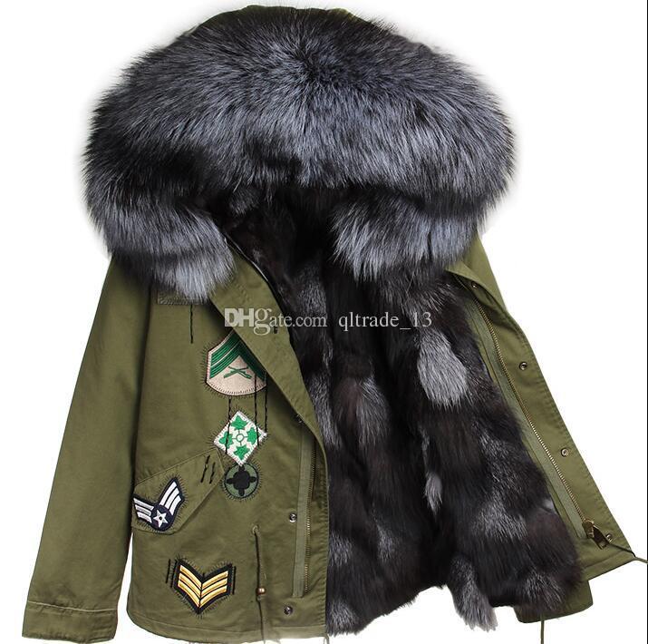 Chegada nova pele de raposa de prata guarnição maomaokong marca prata forro de pele de raposa mini exército verde casacos de lona com Apliques