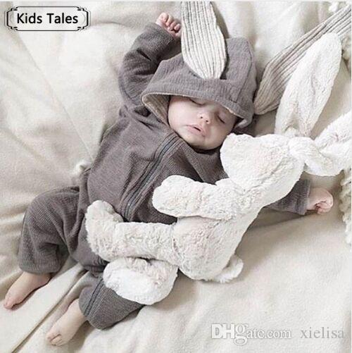 Bebekler Için sevimli Tavşan Kulak Kapşonlu Bebek Tulum Erkek Kız Elbise Yenidoğan Giyim Tulum Bebek Kostüm Bebek Kıyafetleri