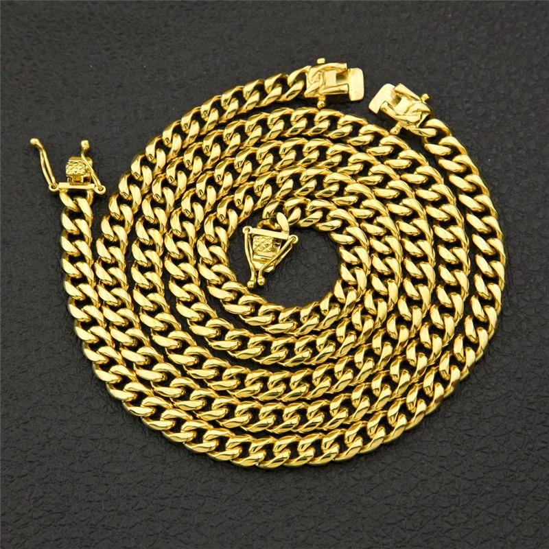 الرجال الهيب هوب مجوهرات الفولاذ المقاوم للصدأ سلاسل 18 كيلو مطلية بالذهب سوار قلادة مجموعة الجليد خارج ميامي كوبا سلسلة 10 ملليمتر 12 ملليمتر 14 ملليمتر