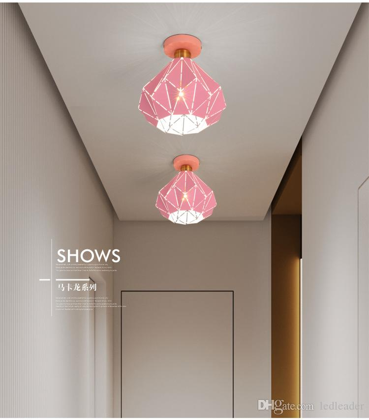 Criativa Teto colorido Macaron Nordic Light Modern levou teto lâmpada para Sala Quarto Luminaire Porch Corredor Corredor RW12