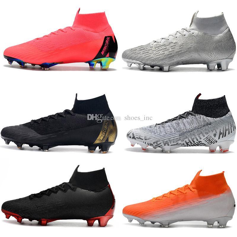 2019 New Mens Soccer Shoes CR7 Mercurial Superfly 6 VI Melhor Elite Ronaldo KJ 360 FG Football Boot Cristiano Ronaldo Men Soccer Cleats