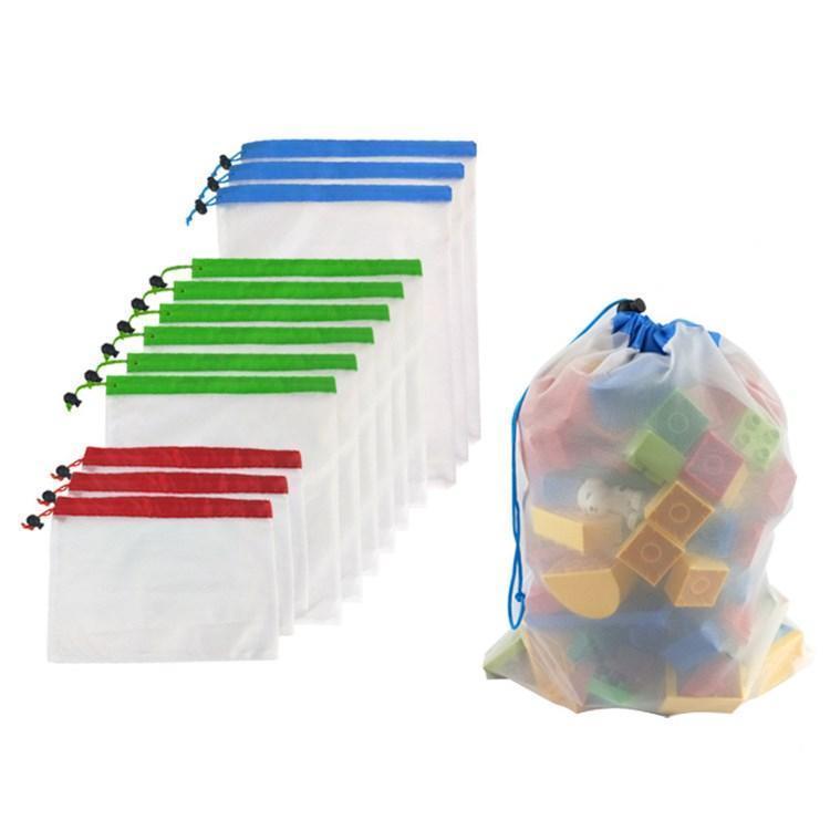 hot 12pcs lot Reusable Mesh Bags Washable Bags for Grocery Shopping Storage Fruit Vegetable Toys Sundries Storage Bag homewareT2I5763