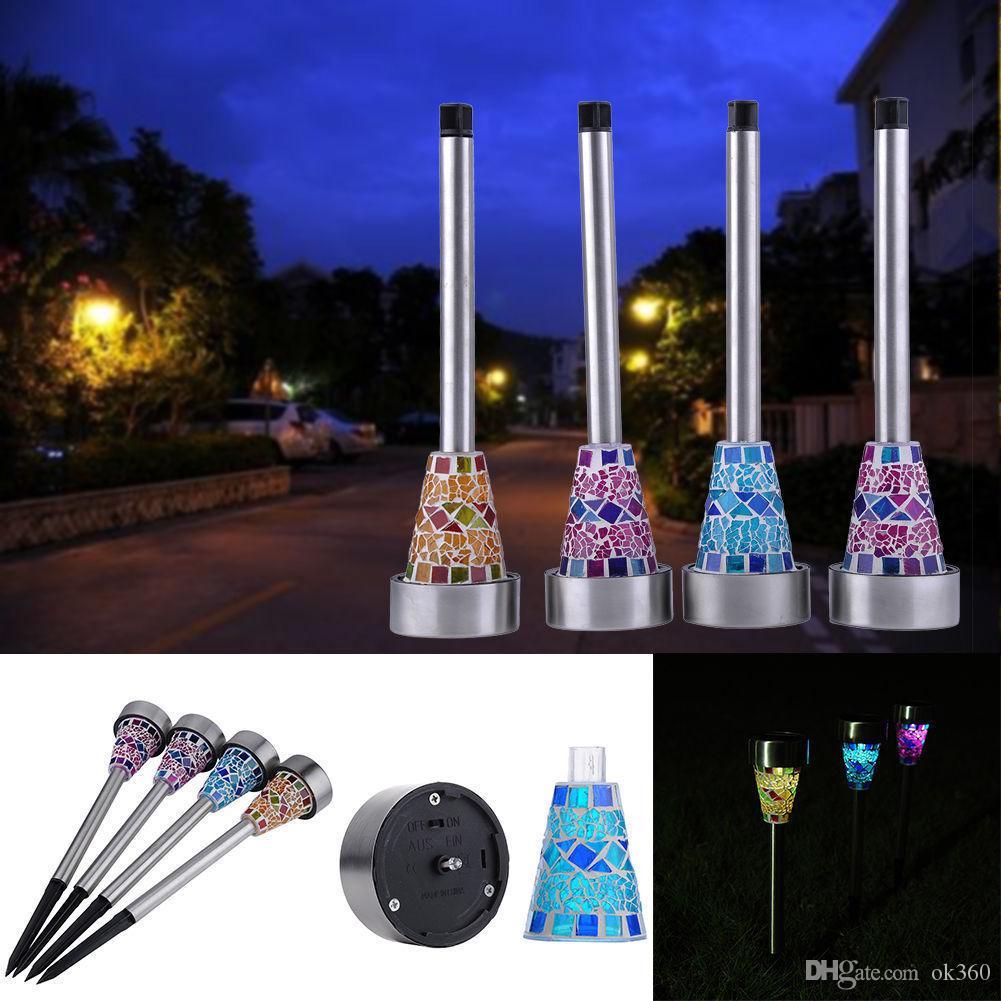 Aço 3pcs Outdoor Solar Power Luz Mosaico LED inoxidável Garden Lamp Lawn emergência Garden Decor Portable Light Lamp Modern