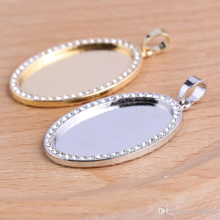 Diamante Pendant Trays,Fit 30mm Round Cabochon Base Setting,Blank Bezel Frame