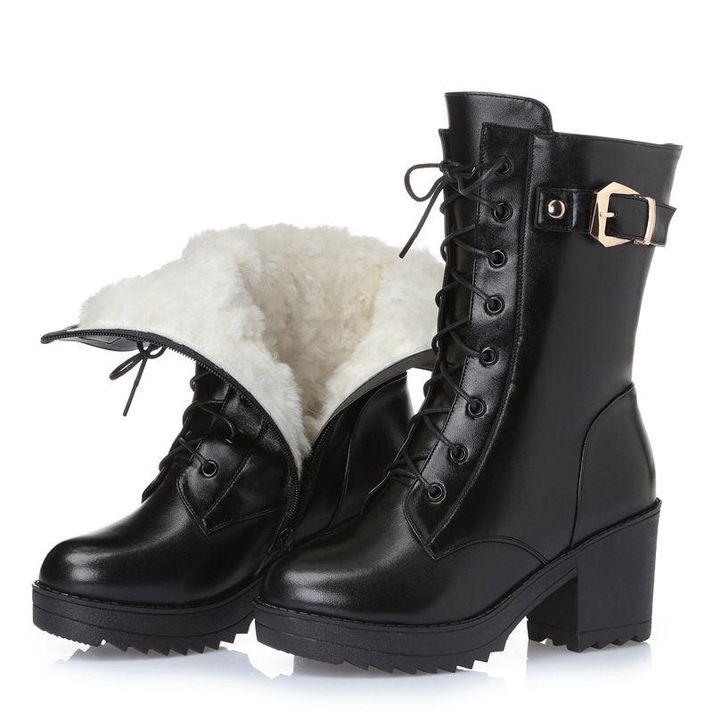 Inverno quente mulheres calçam Natural lã couro genuíno Mulheres Winter Bota Mulheres sapatos de alta qualidade botas altas