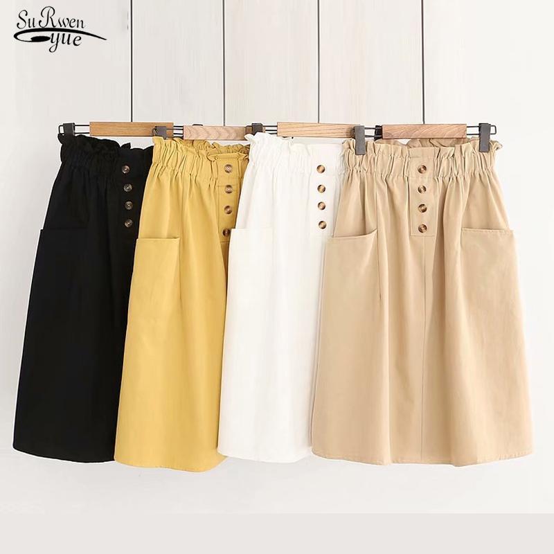2020 Eté Automne Femmes Jupes Vintage taille élastique coréenne en vrac Une ligne en coton Jupe mi-longue Casual solide Nouveau Jupe Faldas 9905