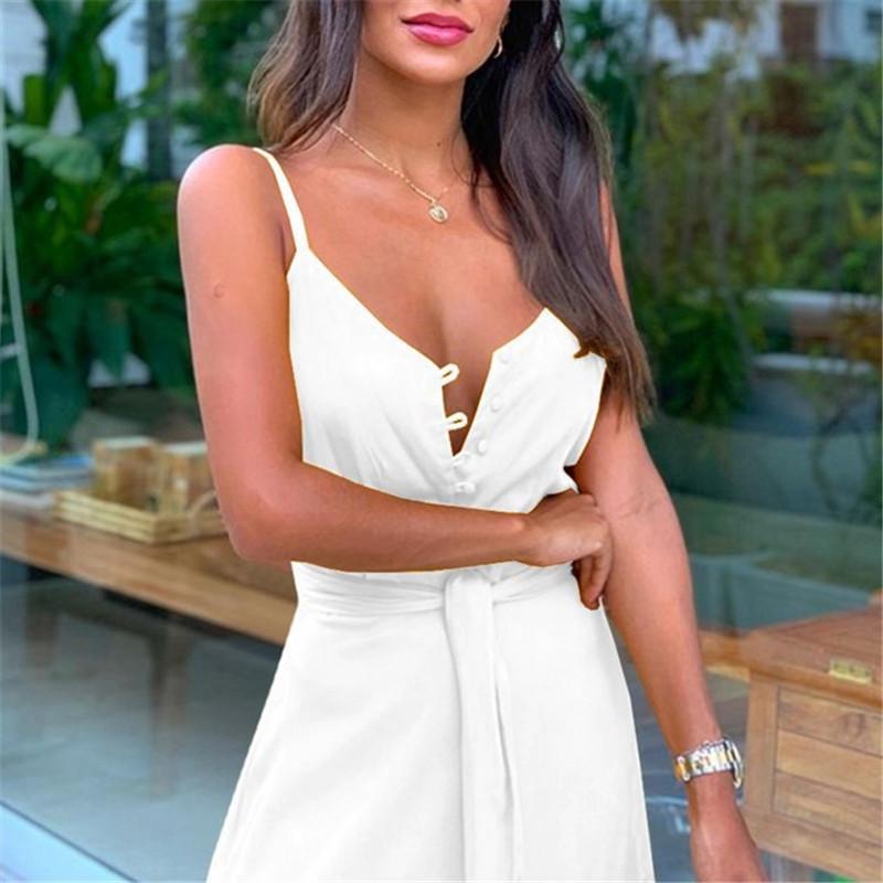 Mujeres camiseta atractiva del vestido de la manera del botón del diseñador V del cuello del color sólido de las mujeres viste el vestido de la correa de espagueti
