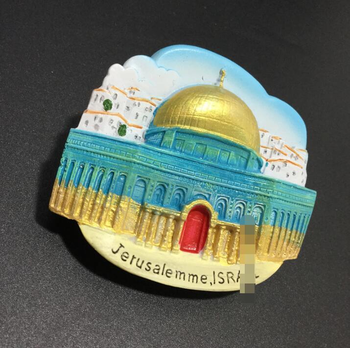 Vendita caldi più nuovi Israele turistico Souvenir resina magnetica Sticker creativo Esporta Esporta Gerusalemme città santa Frigo Merci Pasta