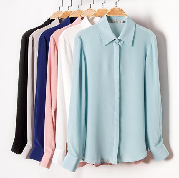 Quality 100% Pure Silk Solid Basic Color Collar Shirt Top Blouse L XL 2XL YS001 T200429