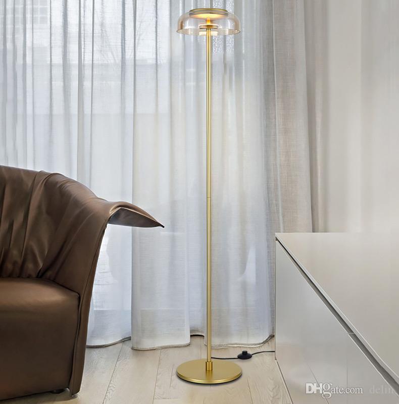 simple plancher créatif lampes or chrome lampadaire boule de verre pour chambre salon nouvel éclairage de la décoration d'art design