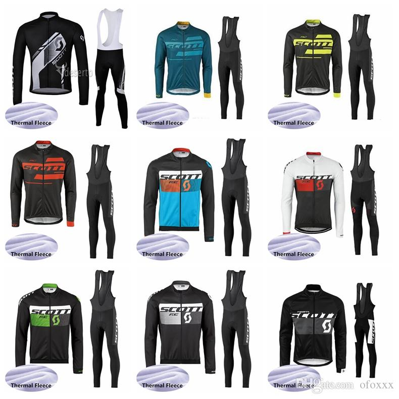 SCOTT takım erkekler Bisiklet Kış Termal Polar forması önlüğü pantolon setleri sıcak tutmak rahat hızlı kuru açık spor forması s81614 setleri