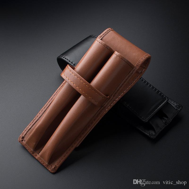 Skórzane Pióro Torby Ołówek Kieszonkowy Case Małe Torebki Mężczyźni Kobiety Brown Vintage Browm Pióra Uchwyt 2 Kieszenie dla biznesu Man 122055