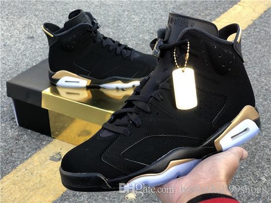 2020 Otantik 6 DMP tanımlanması Anlar Siyah Metalik Altın 23 Basketbol Ayakkabı Altın hangtag ve Box 7-13 CT4954-007 ile Erkek 6s Sneakrs