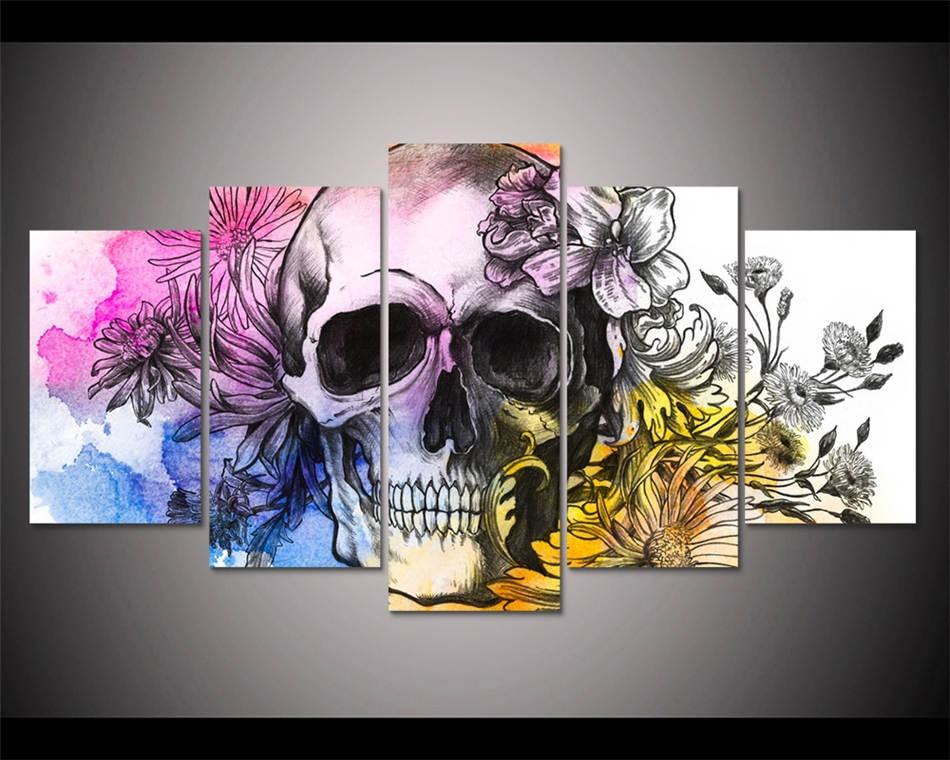 2021 Skull With Flowers Hd Canvas Printing New Home Decoration Art Painting Unframed Framed From Wukaiok01 12 46 Dhgate Com