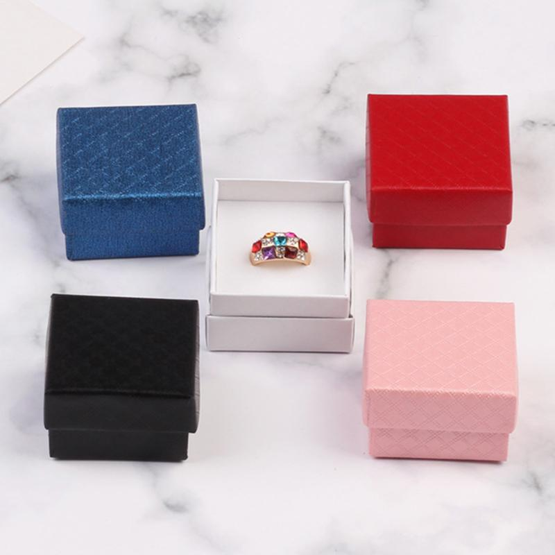 New 24Pcs 5x5x3cm White Jewery Organizer Box High Quality Paper Earrings Storage Box Small Ring Gift Box for jewellery 5Colors