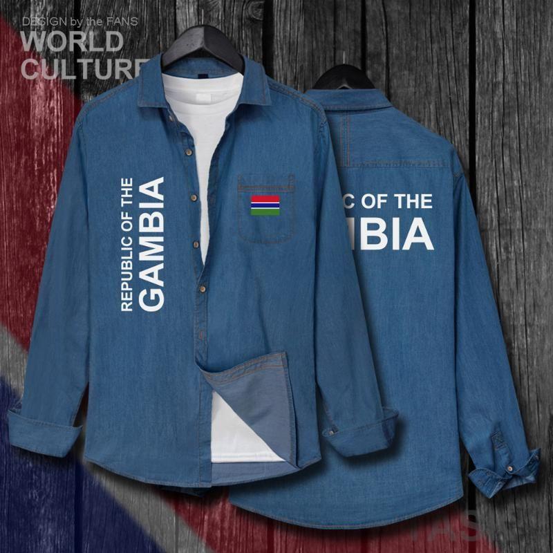 الرجال عارضة قمصان جمهورية غامبيا GMB GMB GMBian GM الرجال العلم الملابس الخريف القطن طويل الأكمام كاوبوي معطف الأزياء بدوره أسفل طوق جي