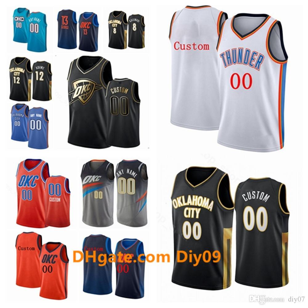 Özel OklahomaKentgök gürültüsüJersey Shai 2 Gilgeous-Alexander Steven 12 Adams Andre 21 Roberson İl Basketbol Formalar