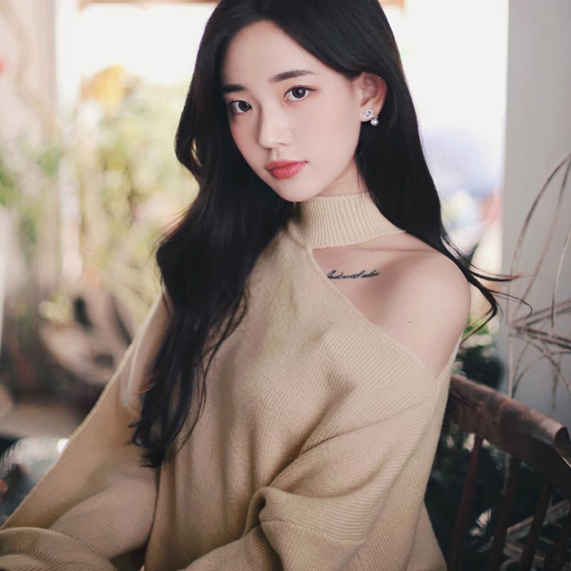 Kadınlar Sonbahar Kış Bir Omuz Triko Gevşek Fit Peluş Kazak Süveter Isınma Moda Uzun Kollu Örgü Streetwear Y191211 Saf Renk