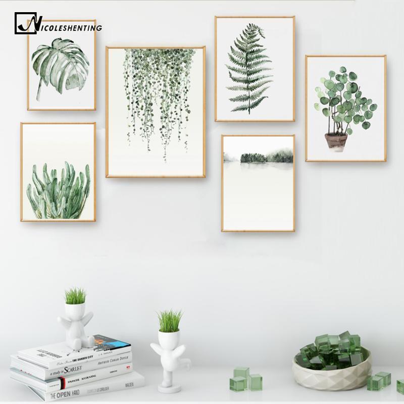 Aquarelle feuilles des plantes d'affiche Paysage Wall Art Toile Peinture Photo pour Salon Home Decor Cactus Décoration