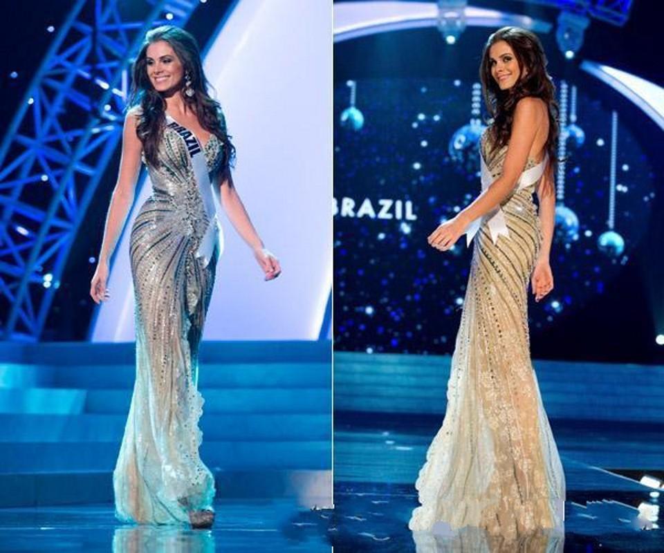Vestido de Miss Universo 2019 Tul Vestidos de baile de famosos Nueva Zuhair Murad árabe vestidos de noche de la sirena de oro lado hendidura moldeada cristalina de encaje