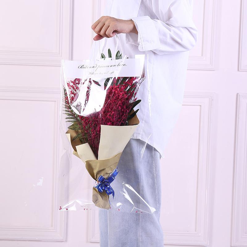 Florist Dekoration Lange Tote PVC-freie Tasche Blumen-Blumenstrauß Absackung Tragbare Transparente Geschenk-Beutel Collocation Verpackung yq01630