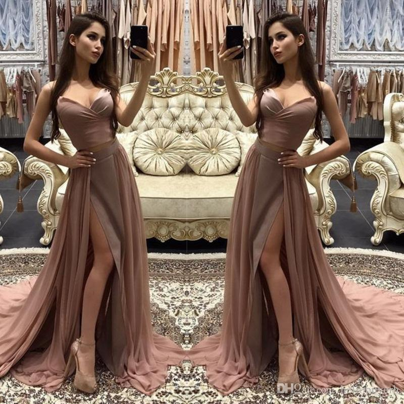 A Line Sexy V Neck Chiffon Cheap Long formal Party Prom Dresses Cut Sides Vestidos de fiesta 2019 New Elie Saab Evening Gowns