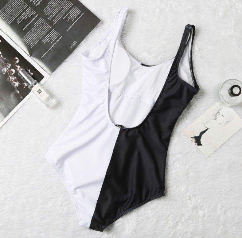 Européenne maillots de bain de femmes Designer et américains nouveau bikini vente chaude couleur correspondant rouge et blanc d'une seule pièce maillots de bain femme gros-1