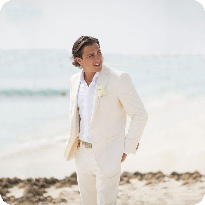2pieces Costom Summer Beach Marfim linho Homens Ternos de casamento para o homem Blazer Slim Fit Casual Prom Tailor Made Tuxedo