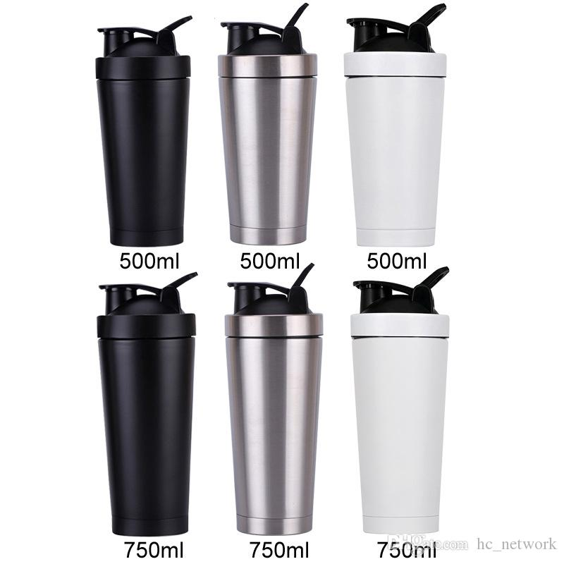 550ml Stainless Steel Metal Protein Shaker Cup Blender Mixer Bottle Sports water Bottle with leak proof lid Free Shipping