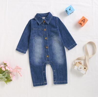 Infante recém-nascido Moda Jeans Macacão bebê de Inverno Vestuário Meninos Meninas manga comprida Sólidos Cowboy Jumpsuit Romper Roupa Ropa Nina