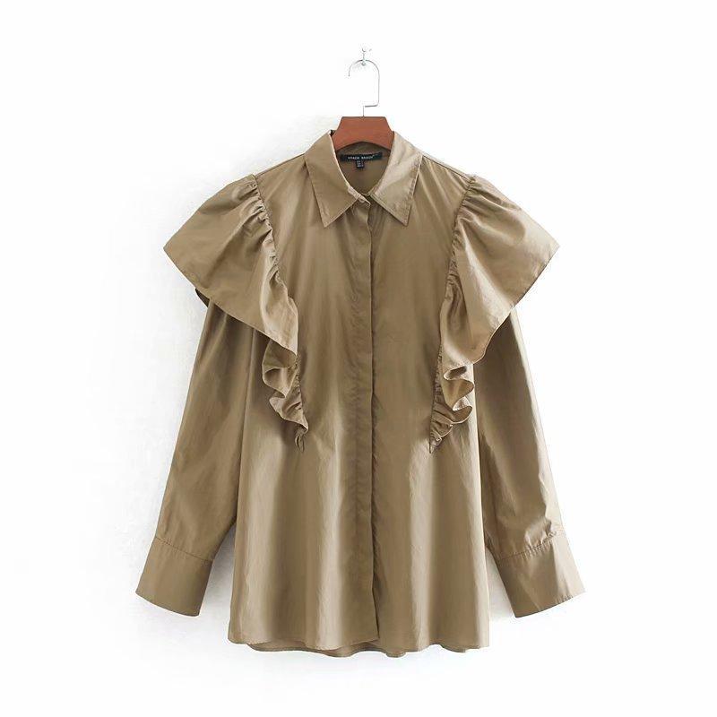 Kadınlar Vintage Ruffles Haki Bluz Uzun Kollu Casual Gömlek Büro Giyim Retro blusas Tops