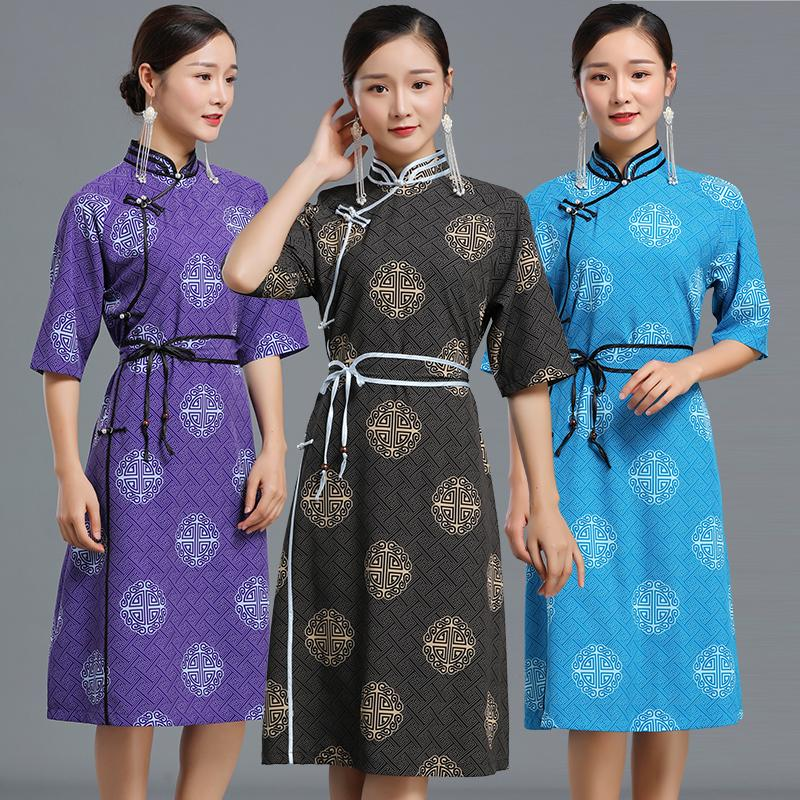 High quality ethnic clothing Mongolia women robe party dress elegant costume traditional grassland national Gown for woman