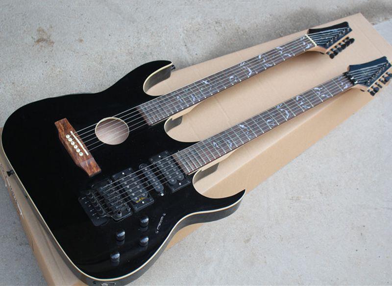 guitarra elétrica do pescoço 12 + 6 cordas duplo com corpo semi-acabados, vermelho / preto / roxo / Sunburst do tabaco disponível, pode ser personalizado
