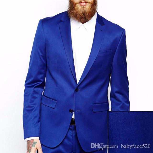 Royal Blue Evening Party Männer Anzüge Bräutigam tragen Blazer fallendem Revers Zweiteilige Bräutigam Hochzeit Smoking Jacket Vest