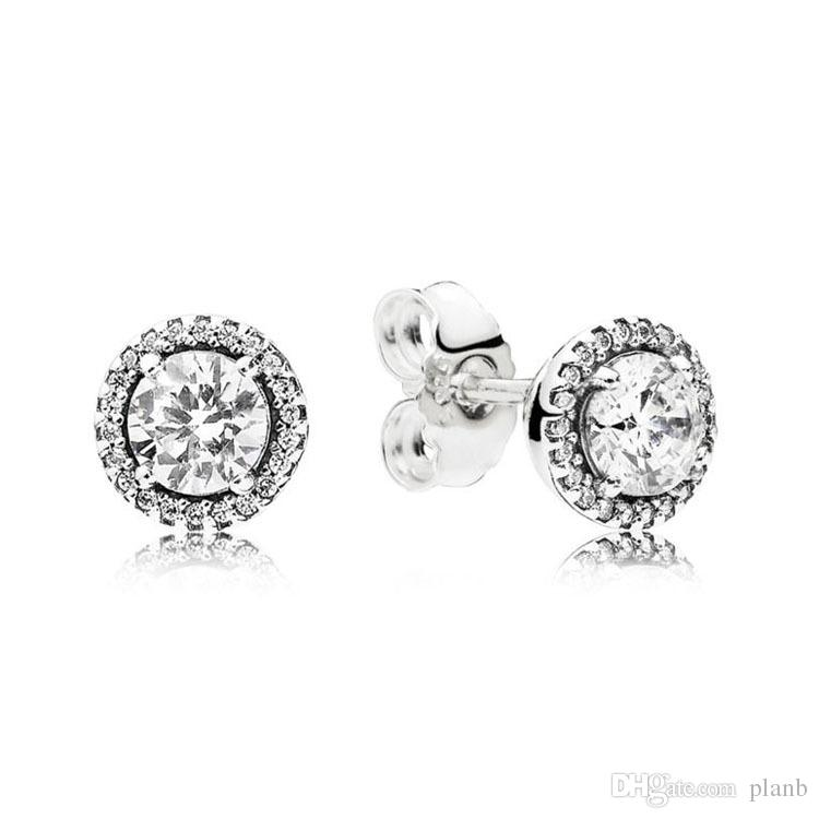 latest style amazing quality closer at 2019 Classic Design Round Crystal Diamond Stud Earrings For Pandora 925  Sterling Silver Elegant Womens Earring With Original Box Set From Planb,  $9.55 ...