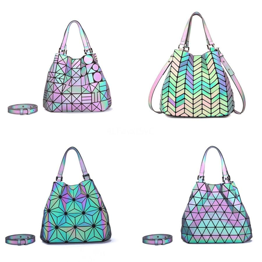 Fashion Panelled Chain Bucket Bag For Women Designer Handbag Luxury Pu Luminous Ladies Messenger Laser Bag Large Tote Qa21 #148