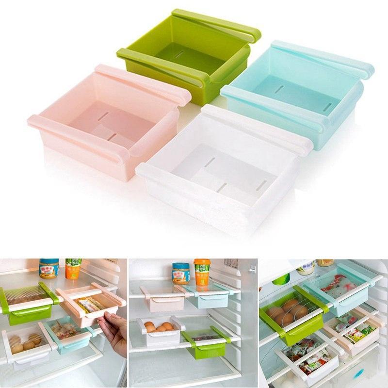 2020 4 couleurs réfrigérateur Cuisine boîte de rangement frais Congélateur économiseur d'espace Organisateur Rack de stockage étagère Porte-tiroir rack