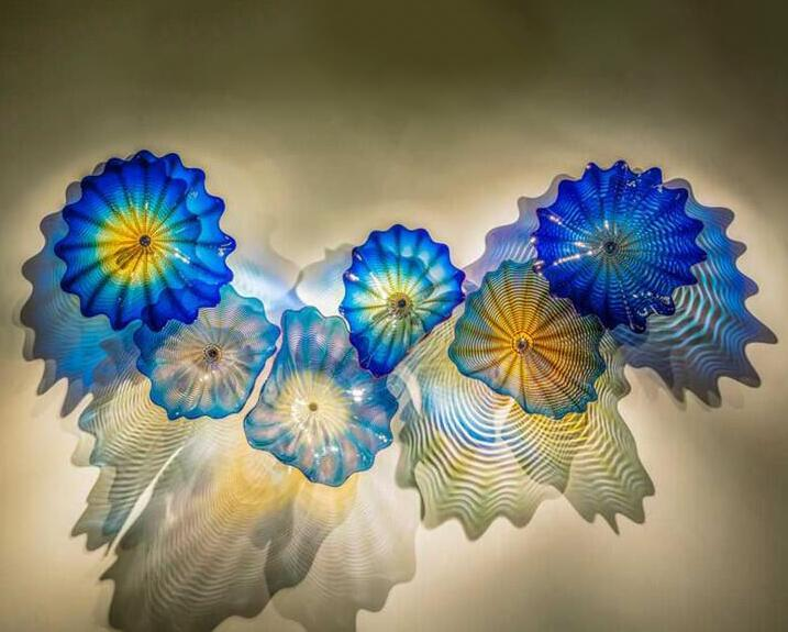 Mavi renkli lambalar Avrupa el yapımı murano çiçek aydınlatma soyut cam duvar sanat ışıkları