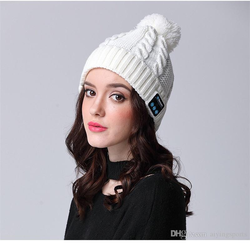 Música Livre Avestruz Bluetooth Hat Mulheres Speaker Fone inteligente Cap Headphones com microfone Bluetooth chapéu do inverno ao ar livre