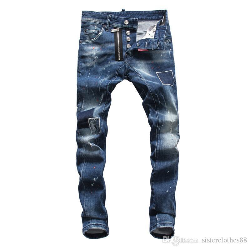 2020 джинсы высшего качества известный бренд дизайнер роскошные джинсы мода уличная одежда мужские узкие джинсы роскошные модные мужские брюки