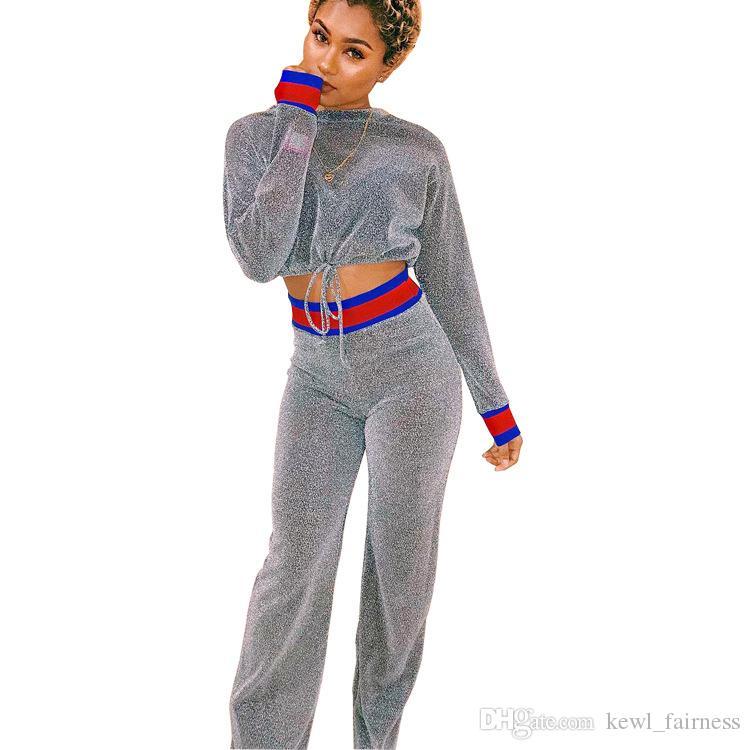 2 pieza Trajes de manga larga camiseta y pantalones Sweatsupits Set chándales, muchachas del otoño de plata Conjuntos Operando color sólido de las mujeres