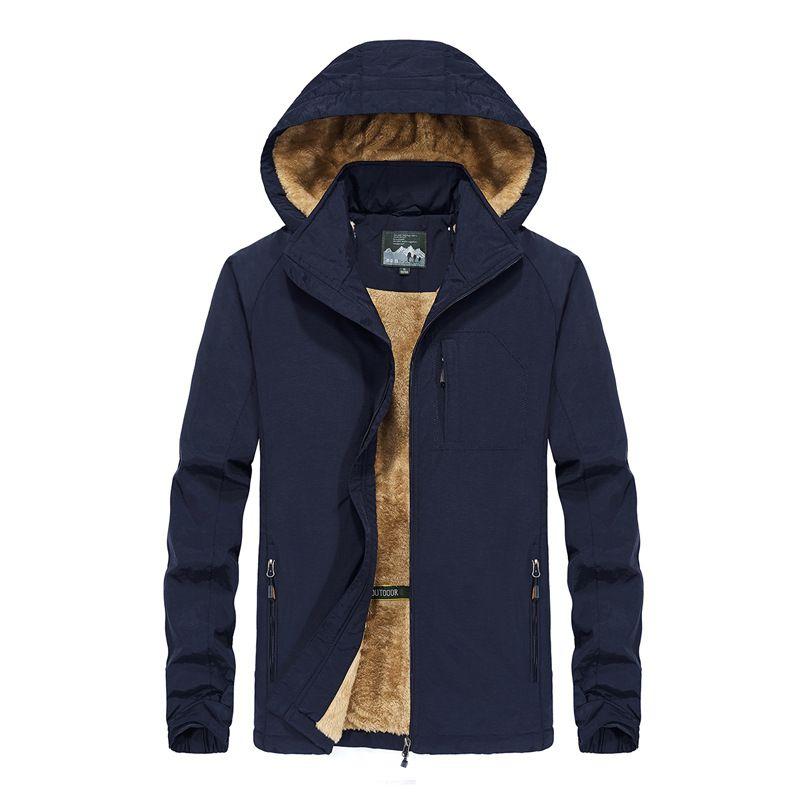 2019 남자 양털 겨울 재킷 야외 따뜻한 코트 하이킹 스키 재킷 겉옷 후드 윈드 브레이커 플러스 사이즈 L-5XL