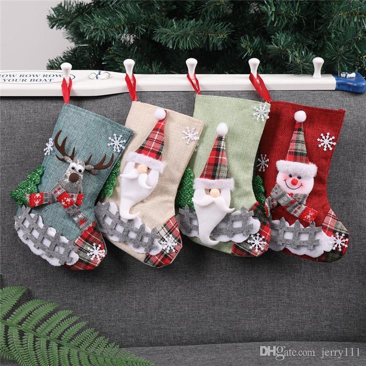 4 stili Natale caramelle regalo borse decorazione puntelli Babbo Natale pupazzo di neve calze di medie dimensioni regalo calze di natale decorazioni DHL JY417
