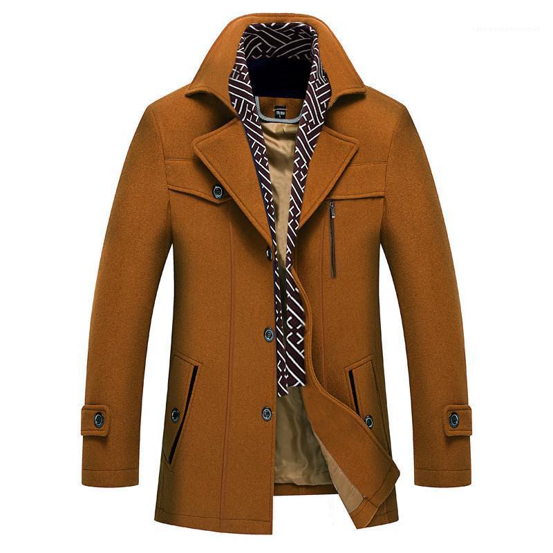 Yün Palto Katı Panelli Erkek Şal Yaka Ceket Moda Düğme Dekorasyon Homme Kış Palto Tasarımcı Erkek Kalın